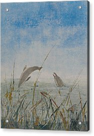 Dolphin Frolic Acrylic Print by Libby  Cagle