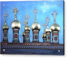 Domes Above The Moscow Kremlin Acrylic Print by Janet Grappin