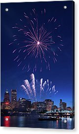 Downtown Fireworks Acrylic Print by Patrick Campbell