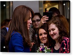Duke And Duchess Of Cambridge Prince William And Kate Middleton Visit Dundee Acrylic Print by Euan Donegan