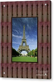 Acrylic Print featuring the photograph Effel Tower Paris France Landmark Photography Towels Pillows Curtains Tote Bags by Navin Joshi