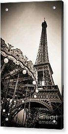 Eiffel Tower And Carousel. France. Europe. Acrylic Print by Bernard Jaubert