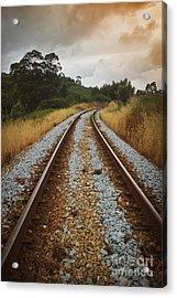 Empty Railway Acrylic Print by Carlos Caetano