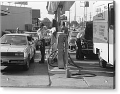 Energy Crisis Gasoline Lines Acrylic Print by Underwood Archives
