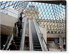 Escalator Entrance To Louvre Acrylic Print by Carl Purcell