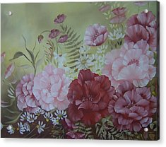 Acrylic Print featuring the painting Family Flowers by Leslie Manley