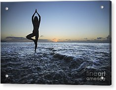 Female Doing Yoga At Sunset Acrylic Print by Brandon Tabiolo - Printscapes