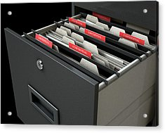 Filing Cabinet Drawer Open Confidential Acrylic Print