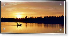 Fishermen On A Lake At Sunset Acrylic Print