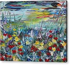 Acrylic Print featuring the painting Flower Field by Teresa Wegrzyn