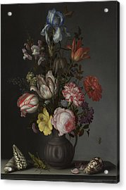 Flowers In A Vase With Shells And Insects Acrylic Print