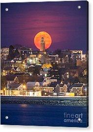 Full Moon Behind The Portland Observatory Acrylic Print