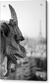 Gargoyle Guarding The Notre Dame Basilica In Paris Acrylic Print