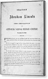 Gettysburg Address, 1863 Acrylic Print by Granger