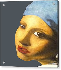 Acrylic Print featuring the painting Girl With Pearl Earring Face by Jayvon Thomas