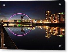 Glasgow Clyde Arc Bridge At Twilight Acrylic Print