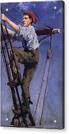Acrylic Print featuring the painting Going Aloft by Henry Scott Tuke