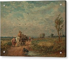 Going To The Hayfield Acrylic Print by David Cox