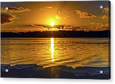 Golden Sunrise Waterscape Acrylic Print
