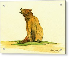 Grizzly Bear Watercolor Painting Acrylic Print