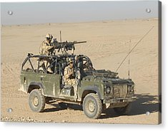 Gurkhas Patrol Afghanistan In A Land Acrylic Print by Andrew Chittock
