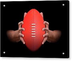 Hands Gripping Football Acrylic Print