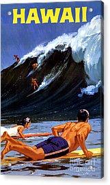 Hawaii Vintage Travel Poster Restored Acrylic Print