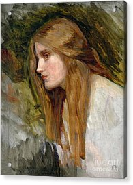 Head Of A Girl Acrylic Print by John William Waterhouse