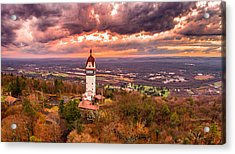 Heublein Tower, Simsbury Connecticut, Cloudy Sunset Acrylic Print by Petr Hejl