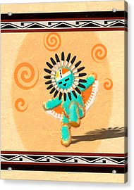 Acrylic Print featuring the digital art Hopi Sun Face Kachina by John Wills