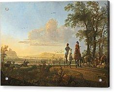 Horsemen And Herdsmen With Cattle Acrylic Print