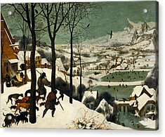 Hunters In The Snow Acrylic Print by Pieter Bruegel the Elder