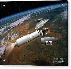 Integral Satellite Launch, Artwork Acrylic Print by David Ducros
