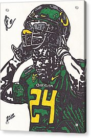 Acrylic Print featuring the drawing Kenjon Barner 1 by Jeremiah Colley