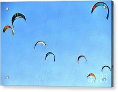 Kites In The Sky, While Kite Surfing Acrylic Print