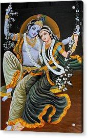 Krishna Radha On Silk Acrylic Print by Rupali  Motihar