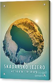Lake Skadar 3d Little Planet 360-degree Sphere Panorama Acrylic Print by Frank Ramspott