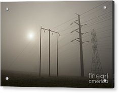 Large Transmission Towers In Fog Acrylic Print