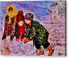 Acrylic Print featuring the painting Let It Snow..let It Snow..  by Cristina Mihailescu