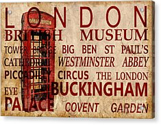 London Vintage Poster Red Acrylic Print by Delphimages Photo Creations