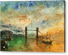 London Watercolor Painting Acrylic Print by Juan  Bosco