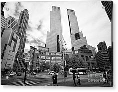 looking along central park south towards columbus circle and the time warner center New York City US Acrylic Print