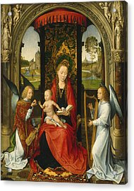 Madonna And Child With Angels Acrylic Print by Hans Memling