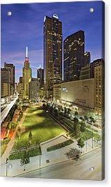 Main Street Garden Park In Downtown Dallas Acrylic Print by Jeremy Woodhouse