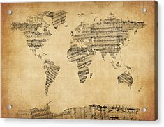Map Of The World Map From Old Sheet Music Acrylic Print by Michael Tompsett