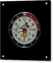 Mickey Mouse Watch Face Acrylic Print by Rob Hans