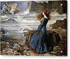 Miranda - The Tempest Acrylic Print by John William Waterhouse