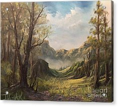 Misty Valley Acrylic Print by Paintings by Justin Wozniak