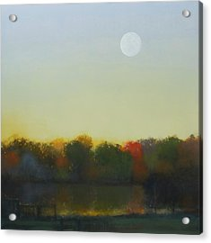Acrylic Print featuring the painting Moonrise-footbridge At White Rock by Cap Pannell