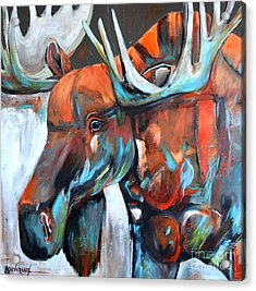 Acrylic Print featuring the painting Moose by Cher Devereaux